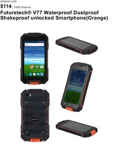 Futuretech® V77 Waterproof Dustproof Shakeproof unlocked Smartphone 4.5 IPS Screen Rugged Android 5.1 Qual Core, 512MB RAM 8GB ROM; GPS AGPS Outdoor Hiking Traveling Dual SIM GSM WCDMA (Orange)