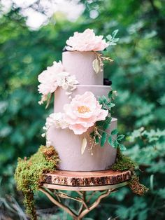 romantic wedding cakes with coral charm peonies