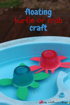 These cute floating turtle or crab crafts are an easy kids craft idea that your kids will be so proud of! Easy to make, with craft foam and applesauce containers, they actually float in water!