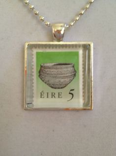 Irish Stamp Pendant Necklace by joytoyou41 on Etsy, $25.00