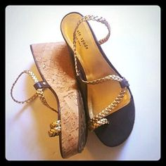 Kate Spade Sandals 7.5 Gold Wedges