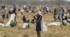 Children flock with containers to a field demarcated for food-drops at a village in Nyal, Unity state, south Sudan, on February (Photo/AFP). African Countries, Countries Of The World, Les Nations Unies, Central Intelligence Agency, World Pictures, Community, War, Country, People