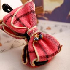 Beaded Plaid Bow Hair Clamp Red - One Size