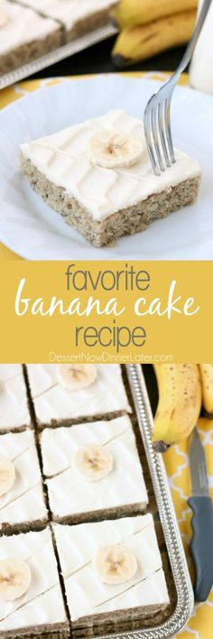 Favorite Banana Sheet Cake Dessert Recipe via Dessert Now, Dinner Later - This is the BEST banana cake topped with the BEST cream cheese frosting! Perfect for picnics and potlucks, this banana sheet cake is a crowd pleaser! Everyone asks for the recipe! Sheet Cake Recipes, Dessert Cake Recipes, Köstliche Desserts, Holiday Desserts, Delicious Desserts, Party Recipes, Recipe Sheet, Dessert Party, Party Party