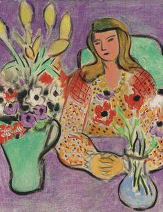 Henri Matisse, Jeune fille aux anémones sur fond violet, 1944 © Christie's Images Limited 2017. on ArtStack #henri-matisse #art