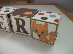 Wooden Name Blocks, Baby Name Blocks, Baby Girl, Baby Boy, Newborn, Nursery, Forest, Animals, Fox, Baby Blocks