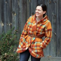 an old woolen blanket into a cozy winter coat....