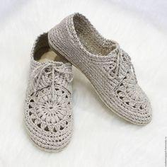 """Обувь ручной работы. Ярмарка Мастеров - ручная работа. Купить Мокасины льняные """"Бэлла"""". Handmade. Бежевый, обувь летняя"""