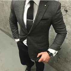 BlackandGrey Men's Suit Outfit on a White Shirt