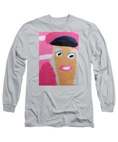 Patrick Francis Designer Long Sleeve Silver T-Shirt featuring the painting Nicki Minaj by Patrick Francis
