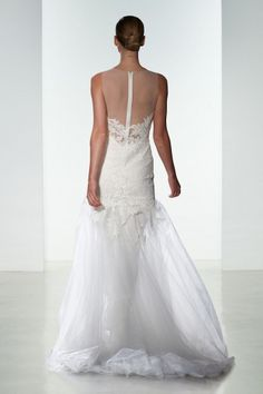 """""""Courtney"""" Amsale Spring 2016 - Fit to flare alencon lace gown with low back and soft tulle skirt."""