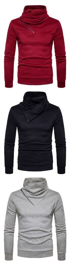 Spring New Fashion Neckline Zipper Long Sleeved Man Body Sweater