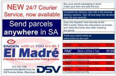 -Door-to-door or locker-to-door collection and delivery to any destination in SA at a fixed rate. -Price includes PAK, collection, delivery and Track and Trace -Tamperproof, secure and sturdy -No complicated account to reconcile -Easy quotation for the shipping of your products -No fuel surcharges -R250.00 Liability cover  24h couriers service to any SA destination- El Madre only filling station in Nelspruit with this facility - another initiative for the convenience of our customers!  #elmadre Dr E, Courier Service, Filling Station, Lockers, Quotations, Seal, Track, Delivery, Motors