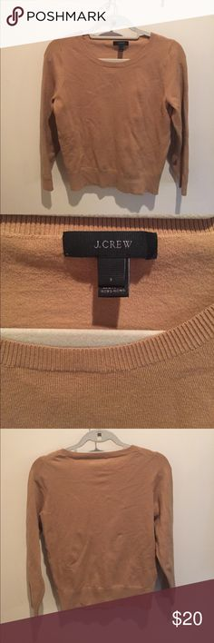 J. Crew tan/brown sweater 66% cotton 31% nylon 3% spandex. J. Crew brand. Stretchy and comfortable. Size small. J. Crew Sweaters Crew & Scoop Necks
