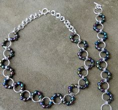 Wavy Chainmaille Necklace and Bracelet Set by kissthemoongems