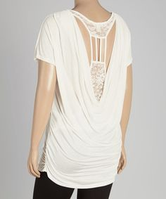 Look what I found on #zulily! White Lace Drape Cutout-Back Top - Plus #zulilyfinds