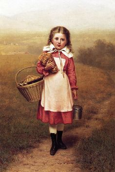 Painting by John George Brown girl in red w/basket returning from market