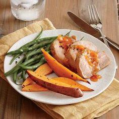 Chile-Orange Glazed Pork Tenderloin Recipe | Cooking Light #myplate #protein #veggies