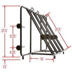 Side view dimensions of the truck bike rack