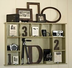 Fun vintage camera collection display