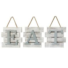 August Grove® Eat Wall Decor, Wood in Gray/Brown, Size Medium (24