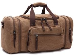 Leaper Extra Large Canvas Travel Tote Duffel Gym Bag Weekender Shoulder Handbag Coffee ** Be sure to check out this awesome product.