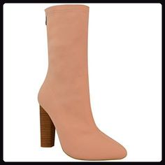 Damen Gestrickt Stiefeletten Dehnbar Block Absatz Promi Schuh Größe - pink errötung Strick, 37 - Stiefel für frauen (*Partner-Link)