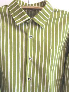 Marimekko Lime Green White Stripped Mens Cotton by ArtasStore Cotton Shirts For Men, Extra Rooms, White Strips, Marimekko, Button Up, Long Sleeve Shirts, Ready To Wear, Lime, Green