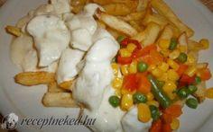 Csirkemell négysajtos mártással recept fotóval