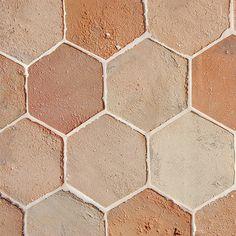 Reclaimed Natural Hexagon Terracotta Tiles 6x6 from Reclaimed Terracotta Collection Boulder House, Terracotta Floor, Latest Design Trends, House Tiles, Hexagon Tiles, Terracota, Red Color, Tile Floor, Natural