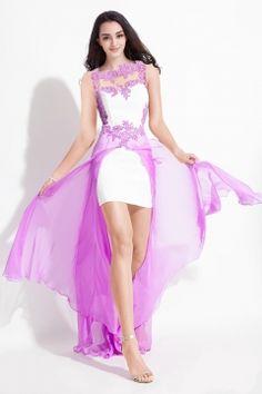 Chic Sheath Short/Mini Satin Prom Dress with Chiffon Over Skirt