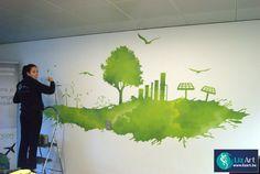 Muurschildering groene energie bij Encon