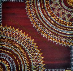 "Meeting, 2012. 8"" x 8"", Textured henna style acrylics mandala painting on canvas. © Bala Thiagarajan, 2012. www.artbybala.com"