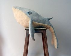 Big Handmade Plush- Whale Stuffed Animal - Cotton jersey and faux fur. **Made by order**
