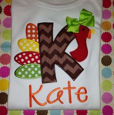 Kids / Children's Turkey Applique Shirt with by MajorMonograms Fall Applique, Applique Monogram, Machine Embroidery Applique, Fall Sewing Projects, Sewing Crafts, Applique Designs, Embroidery Designs, Vinyl Crafts, Paper Crafts
