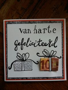 Handlettering. Een geld-cadeautje Present Wrapping, Happy B Day, Marianne Design, Diy Cards, Some Fun, Hand Lettering, Wedding Gifts, Projects To Try, Wraps