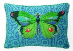 Green Butterfly Needlepoint Pillow