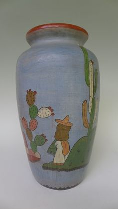 "Old vintage Mexican Tlaquepaque blue vase olla charming graphics 12"" tall"