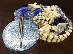 Collar nácar azul craquelado y cristal de Murano
