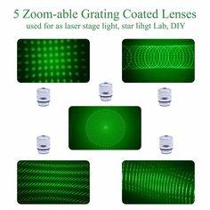 5 Star Caps w// 5 Patterns Grating Lense for Laser Pointer Pen-Style