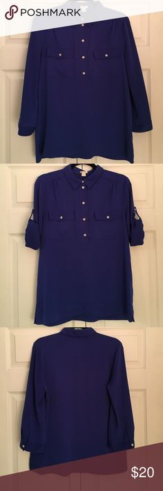 J. Crew Mercantile Royal Blue Tunic Shirt J. Crew Mercantile, Royal Blue, Tunic Shirt, 100% polyester (feels silky), Buttons down half way, Two pockets in front, Loose fitting, Perfect for work with some slacks or with jeans for going out! Perfect condition. Will entertain best offers. J. Crew Factory Tops Tunics