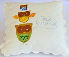 Pillows Personalized For Baby Girls or Boys With Embroidered Multicolor Owls - Customized Colors. $39.00, via Etsy. Embroidery Collection