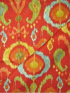 Holiday Pomegranite - Traditional ikat suzani medalion print fabric for elegant drapery panels, pillow covers, swags, duvet covers or light use upholstery. H x V wide. Ikat Pattern, Drapery Panels, Ikat Fabric, Fabric Swatches, Repeat, Printing On Fabric, Pillow Covers, Master Bedroom, Upholstery
