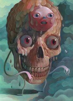 Skull Art by Charlie Immer ☠️ Art Bizarre, Creepy Art, Weird Art, Art Sinistre, John Kenn, Pop Art, Art Et Illustration, Lowbrow Art, Pop Surrealism