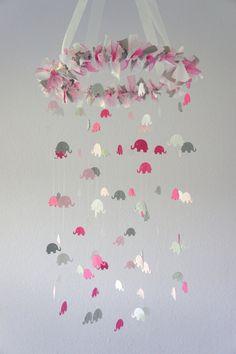 Pink Gray Girl Elephant Nursery Mobile- Crib Mobile, Baby Shower Gift, Nursery Decor. CUTE!