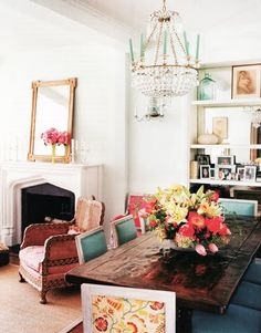 Beautiful way to add color and update a space; love the two pattern chairs