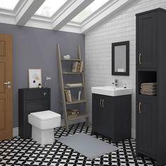 Chatsworth Traditional Graphite Bathroom Suite at Victorian Plumbing UK Grey Bathrooms, Modern Bathroom, Bathroom Ideas, Family Bathroom, Traditional Bathroom Suites, Clever Bathroom Storage, Blue Vanity, Wall And Floor Tiles, Vanity Units
