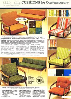 MCM chair cushions from Sears. We had this furniture! Mod Furniture, Danish Modern Furniture, Bedroom Furniture Sets, Mid Century Modern Furniture, Contemporary Furniture, Vintage Interiors, Vintage Home Decor, Vintage Homes, Atomic Decor