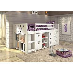 Donco Kids Circles Modular Low Loft Twin Bed (White - White Finish)