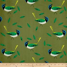 Birch Organic Charley Harper Western Birds Green Jay Green from @fabricdotcom  Designed by Charley Harper for Birch Organic, this this GOTS certified organic cotton print fabric features colorful birds. Perfect for quilting, apparel and home decor accents. Colors include blue, black, white and shades of green.